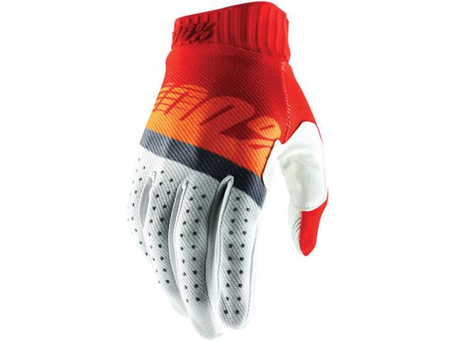100% Ridefit FA18 Gloves red/fluo orange/slate blue